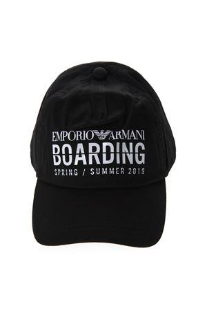 0e5dc752 BOARDING HAT IN BLACK COTTON SS 2019 - EMPORIO ARMANI - Boutique Galiano