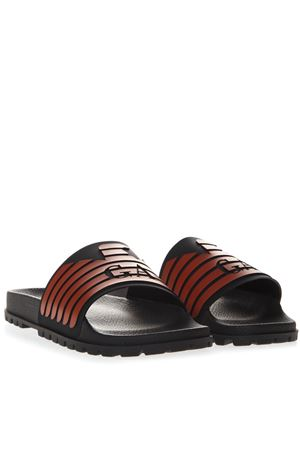 SLIDE SANDALS IN BLACK AND RED RUBBER SS 2019 EMPORIO ARMANI | 87 | X4P077XL273B462