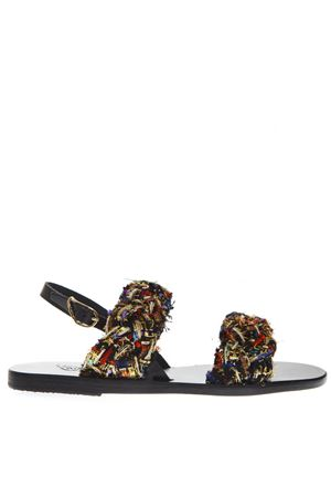 SPIANADA MULTICOLOR WOVEN FABRCI SANDALS