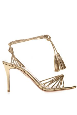 GOLD LEATHER METALLIC ANKLE TIE SANDALS SS 2019 AQUAZZURA | 87 | MESMIDS0NPLSOG