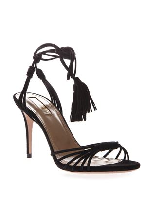 BLACK SUEDE ANKLE TIE SANDALS SS 2019 AQUAZZURA | 87 | MESMIDS0SUE000