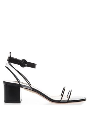 BLACK MINIMALIST LEATHER & PVC SANDALS SS19 AQUAZZURA | 87 | MINMIDS1CPV000