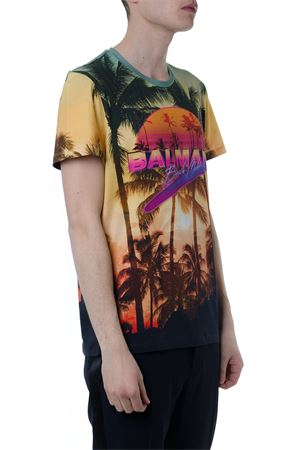 MULTICOLOR BEACH CLUB COTTON T-SHIRT SS 2019 BALMAIN | 15 | RH11601I026AAAMULTICOLORE