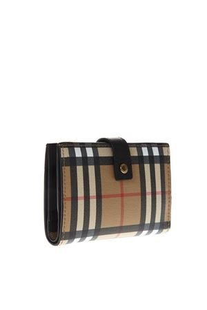 CHECK PRINT WALLET IN CAMEL & BLACK LEATHER SS 2019 BURBERRY | 34 | 4073137100100