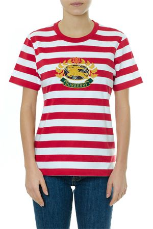 RED & WHITE STRIPED COTTON T-SHIRT WITH LOGO