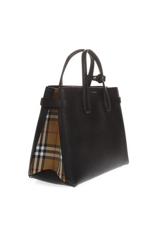 BLACK MEDIUM BANNER LEATHER BAG WITH VINTAGE CHECK PATTERN SS19 BURBERRY | 2 | 80063231A1189