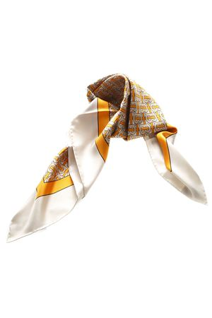 ORANGE AND IVORY SILK FOULARD WITH MONOGRAM PRINT SS 2019 BURBERRY | 20 | 80163631A1934