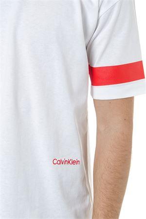 fc9a1e76402b WHITE COTTON T SHIRT WITH RED STRIPES SS 2019 - CALVIN KLEIN ...