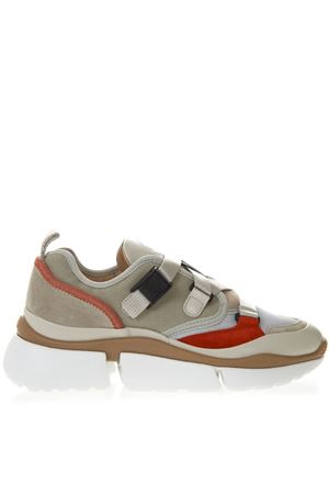 01a81793e035 SONNIE CHUNKY SNEAKERS IN BEIGE AND RED SUEDE SS 2019 CHLOÉ