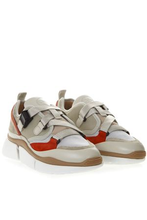 SONNIE CHUNKY SNEAKERS IN BEIGE AND RED SUEDE SS 2019 CHLOÉ | 55 | CHC18A05118UNI38A