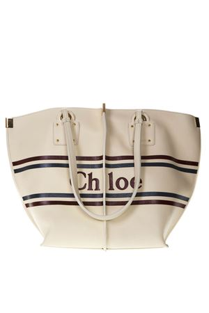 TOTE BAG IN YVORY LEATHER WITH LOGO PRINT SS 2019 CHLOÉ | 2 | CHC19SS130A85UNI308