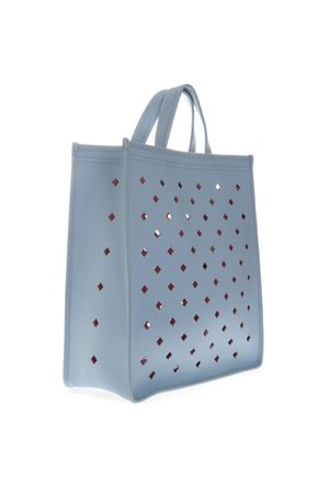 fa13368368 LIGHT BLUE PERFORATED LEATHER SHOPPER BAG SS 2019 - COCCINELLE ...