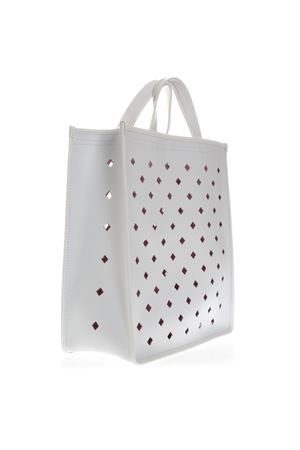WHITE PERFORATED LEATHER SHOPPER BAG SS 2019 COCCINELLE | 2 | E1 DJ2 18 01 01C BAG TRAFORO ROMBIH10