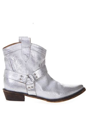 SILVER FABRIC TEXAN VINTAGE ANKLE BOOTS  CORAL BLUE | 52 | CBK21947UNIWHI