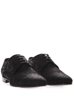 BLACK BROCADE FABRIC DERBY SHOES SS 2019 DOLCE & GABBANA | 208 | A10384AZ33580999