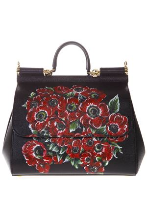 SICILY BAG IN BLACK LEATHER WITH HAND-PAINTED FLOWERS SS 2019 DOLCE & GABBANA | 2 | BB6002AK698HNAA5