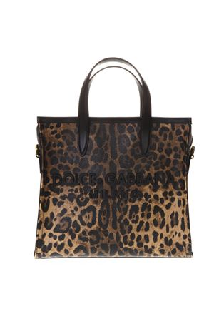 SMALL MARKET SHOPPING BAG IN LEOPARD CREPE WITH RUBBER LOGO  SS 2019 DOLCE & GABBANA | 2 | BB6674AK100HA93M