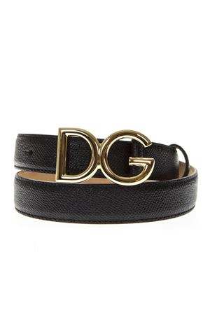 BLACK LEATHER BELT WITH GOLDEN LOGO SS19 DOLCE & GABBANA | 12 | BE1325A100180999