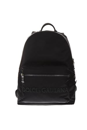D&G BLACK LEATHER & FABRIC LOGO BACKPACK SS19 DOLCE & GABBANA | 183 | BM1607AZ6758B956