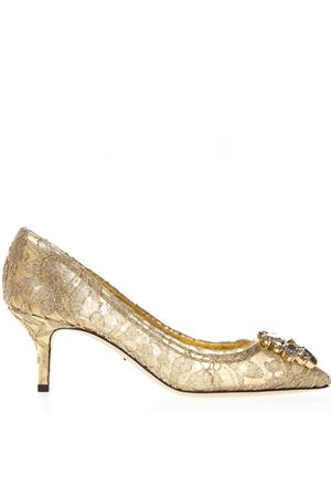 PUMPS BELLUCCI IN LUREX E PIZZO ORO CON BROOCH PE 2019 DOLCE & GABBANA | 68 | CD0066AE63780997