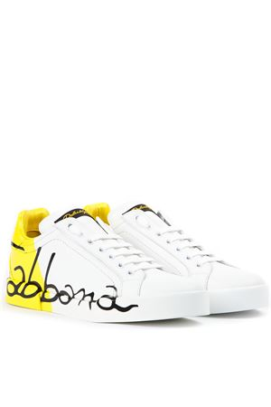 LEATHER SNEAKERS WITH DOLCE & GABBANA WRITTEN SS 2019 DOLCE & GABBANA | 55 | CK0124AI053HG821