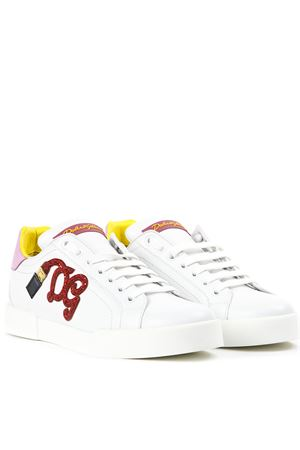 WHITE LEATHER SNEAKERS WITH LOGO DG SS 2019 DOLCE & GABBANA | 55 | CK0150AH06687587