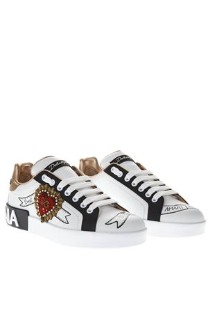 PORTOFINO WHITE LEATHER SNEAKERS WITH DESIGNERS PATCH SS 2019 DOLCE & GABBANA | 55 | CK1544AZ138HWT77