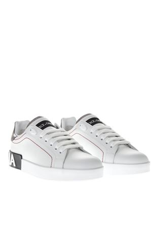 PORTOFINO WHITE LEATHER SNEAKERS WITH EMBOSSED LOGO SS 2019 DOLCE & GABBANA | 55 | CK1587AH5278B441