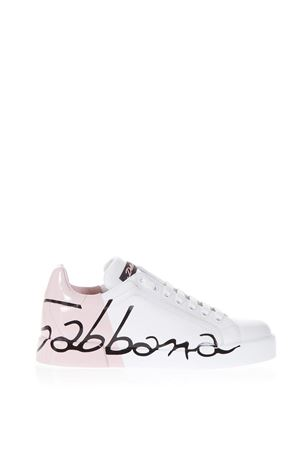 WHITE AND PINK PORTOFINO SNEAKERS IN LEATHER SS 2019 DOLCE & GABBANA | 55 | CK1600AI053HW821