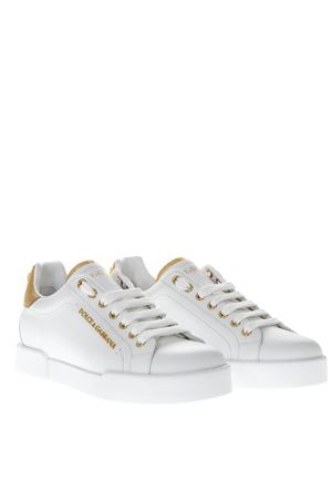 WHITE LEATHER SNEAKERS WITH DOLCE & GABBANA LETTERING SS 2019 DOLCE & GABBANA | 55 | CK1602AN2988B996