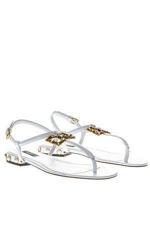 WHITE DG AMORE THONG SANDALS IN LEATHER SS 2019 DOLCE & GABBANA | 87 | CQ0241AI57380001