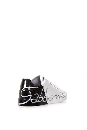 buy online 151a5 37ac9 WHITE & BLACK LEATHER LOGO SNEAKERS FW 2018 - DOLCE & GABBANA - Boutique  Galiano
