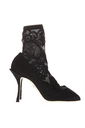 BLACK ANKLE BOOT IN STRETCH LACE AND GROS GRAIN SS19 DOLCE & GABBANA | 52 | CT0524AV8088B956