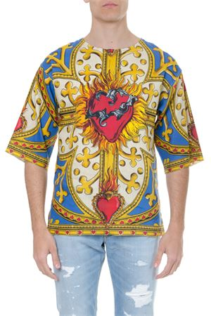 LINEN T SHIRT WITH MULTICOLORED PRINT SS 2019 DOLCE & GABBANA | 15 | G8JY9TFP4JBHCY20