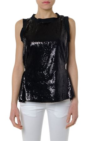 BLACK SEQUIN SLEEVES BLOUSE SS 2019 DONDUP | 13 | DC065OF0171XXX1999