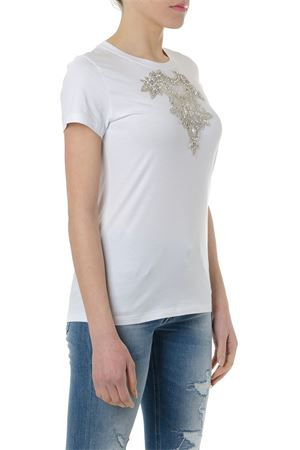 WHITE COTTON T SHIRT WITH CRYSTALS SS 2019 DONDUP | 15 | S007JS0212D911000