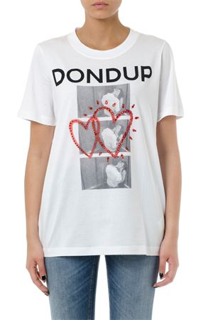 WHITE DONDUP COTTON T-SHIRT WITH PRINT SS 2019 DONDUP | 15 | S653JF0243C000000