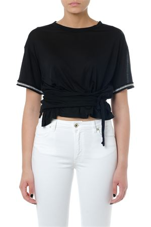 BLACK CROPPED KNOT COTTON T-SHIRT SS 2019 DONDUP | 15 | S794JF0251C999999