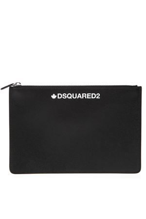 BLACK PRINTED SAFFIANO LEATHER POUCH SS 2019 DSQUARED2 | 2 | POM000101501685M063
