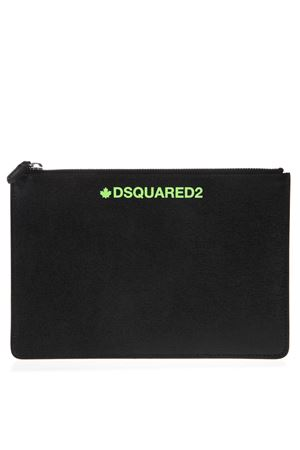 BLACK PRINTED SAFFIANO LEATHER POUCH SS 2019 DSQUARED2 | 2 | POM000101501685M603