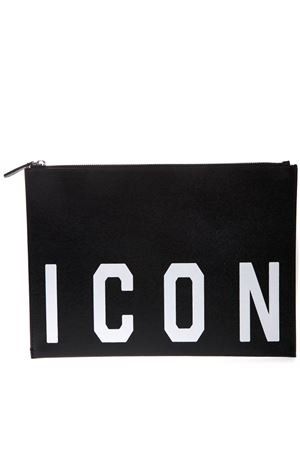 BLACK ICON LEATHER CLUTCH SS19 DSQUARED2 | 2 | POW000801501686M063