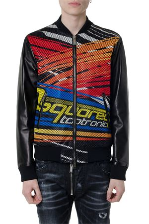 BLACK LEATHER MULTICOLOR PRINT JACKET SS19 DSQUARED2 | 27 | S71AN0075SY1352900