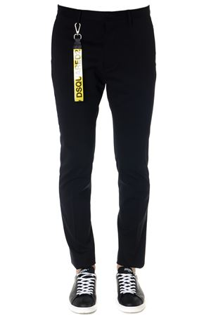 BLACK VIRGIN WOOL PANTS WITH LOGO CHARMSS 2019 DSQUARED2 | 8 | S71KB0162S42916900