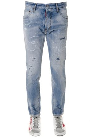 LIGHT BLUE COTTON BOOTCUT FADED & TEARED JEANS SS19 DSQUARED2 | 4 | S71LB0579S30309470
