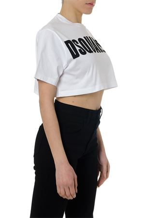 WHITE COTTON CROPPED LOGO T-SHIRT PE19 DSQUARED2 | 15 | S72GD0149S22427100