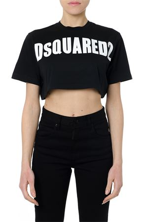 T-SHIRT CROPPED NERA IN COTONE CON LOGO PE19 DSQUARED2 | 15 | S72GD0149S22427900