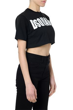 BLACK COTTON CROPPED LOGO T-SHIRT SS19 DSQUARED2 | 15 | S72GD0149S22427900