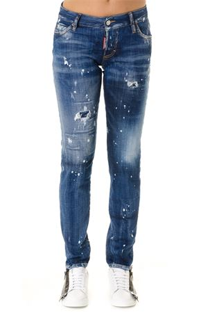 CROPPED BLUE DISTRESSED EFFECT JEANS IN DENIM SS 2019 DSQUARED2 | 4 | S72LB0201S30342470