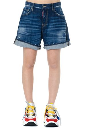 SHORTS A GAMBA AMPIA IN DENIM BLU PE 2019 DSQUARED2 | 110000034 | S72MU0284S30342470