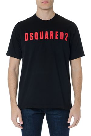 BLACK COTTON T-SHIRT WITH DSQUARED2 LOGO SS 2019 DSQUARED2 | 15 | S74GD0472S20694900